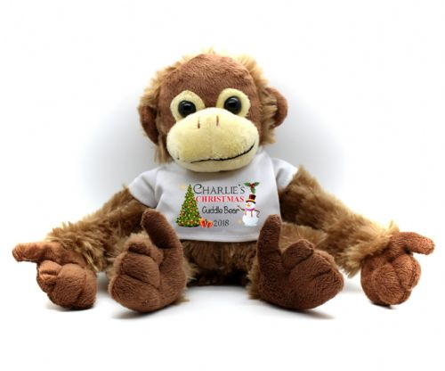 Personalised Monkey Teddy Bear N13 - Any Name Christmas Cuddle Bear Gift